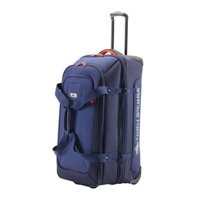 "High Sierra AT6 DLX 31"" Wheeled Duffle Upright in the color True Navy/Red Line."