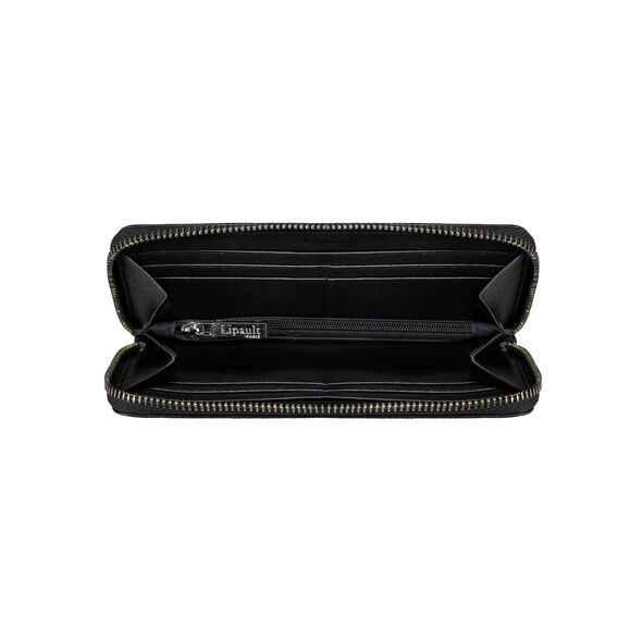 Lipault Plume Elegance Zip Around Wallet in the color Black Leather.