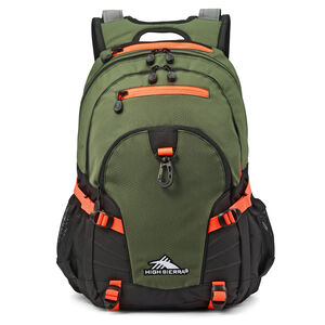 High Sierra Loop Backpack in the color Forest Green/Electric Orange.
