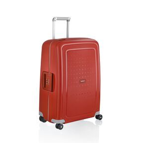 "Samsonite S'Cure 25"" Spinner in the color Crimson."