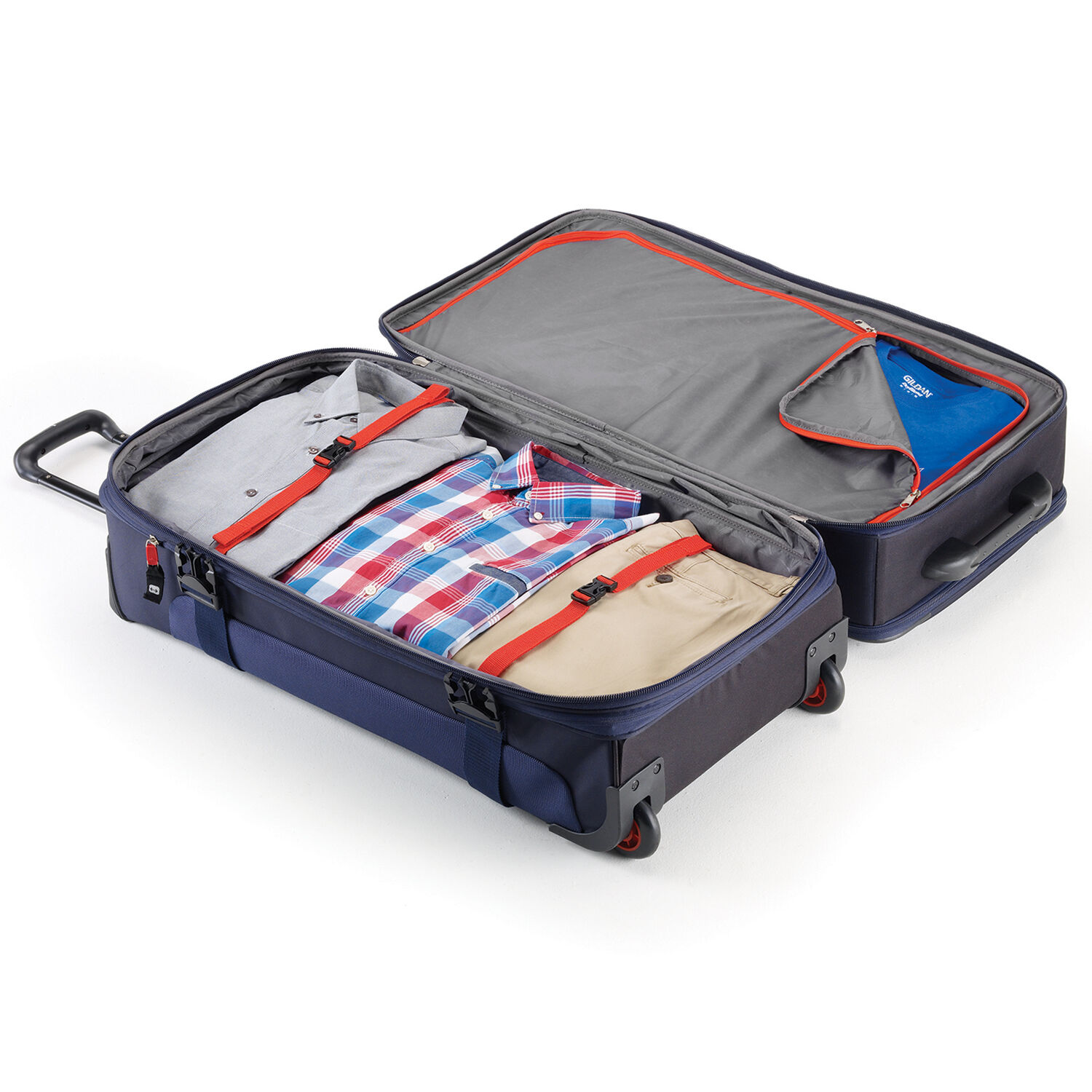 High Sierra AT6 DLX 31 quot  Wheeled Duffle Upright in the color True Navy  Red 376ec80052e0c