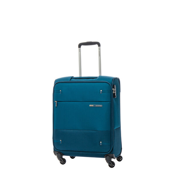 Samsonite Base Boost Spinner Carry-On in the color Petrol Blue Stripes.