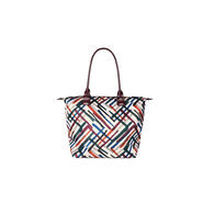 Lipault Draw the Fall Tote Bag M in the color Chevron/Wine/Green.