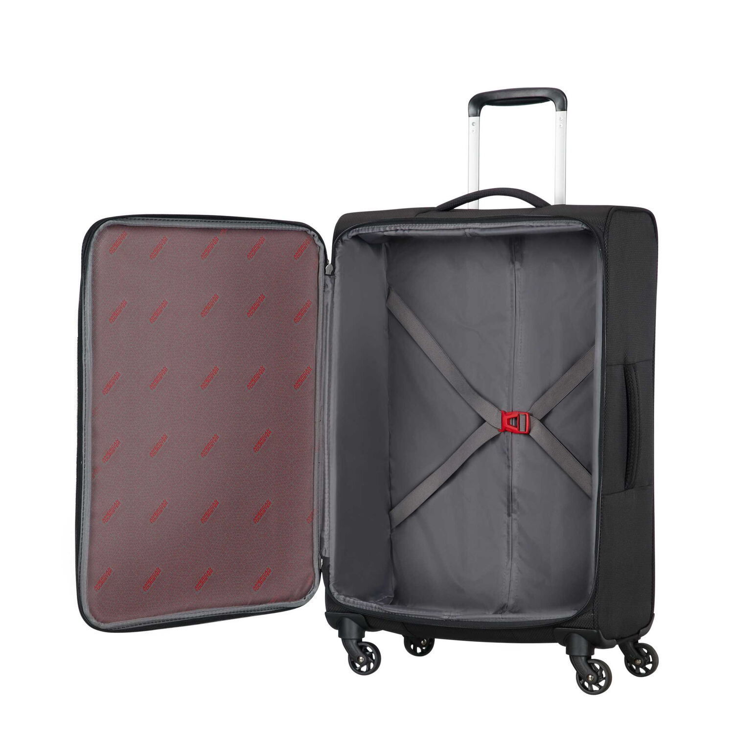 0ebf2c9fe5 American Tourister Litewing Spinner Large in the color Volcanic Black.