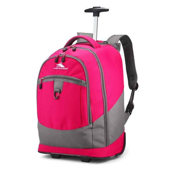High Sierra Chaser Wheeled Backpack in the color Pink Punch/Slate.