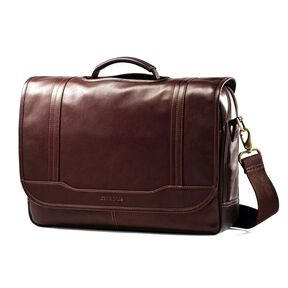 Samsonite Columbian Leather Flapover Brief in the color Brown.