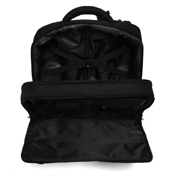 """Lipault Plume Business Rolling Tote 15"""" in the color Black."""
