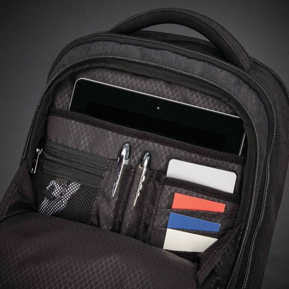 Samsonite Modern Utility Small Backpack in the color Charcoal Heather/Charcoal.