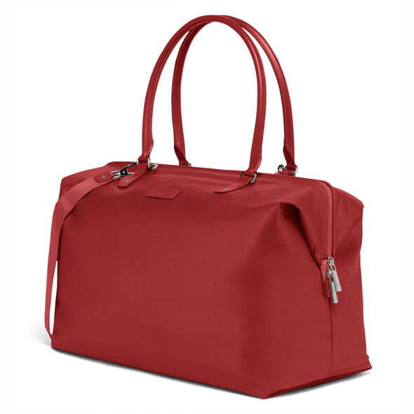 Lipault Lady Plume FL Weekend Bag M in the color Cherry Red.