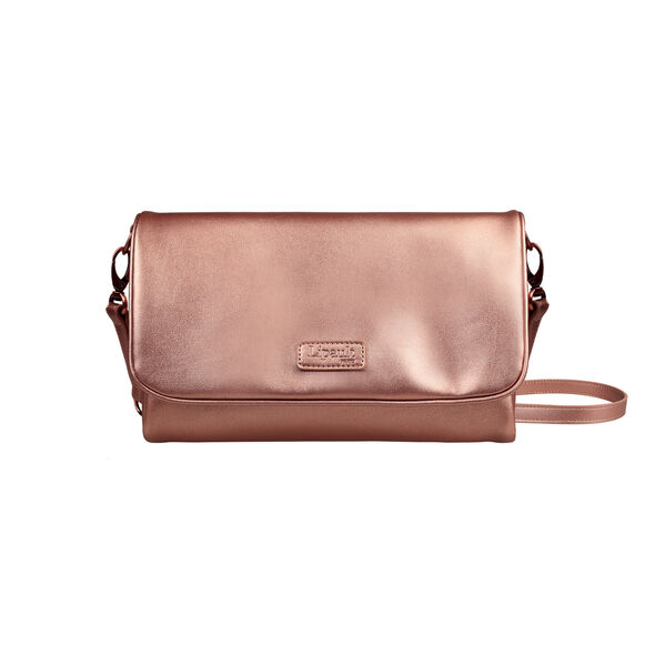 Lipault Miss Plume Clutch Bag M in the color Pink Gold.