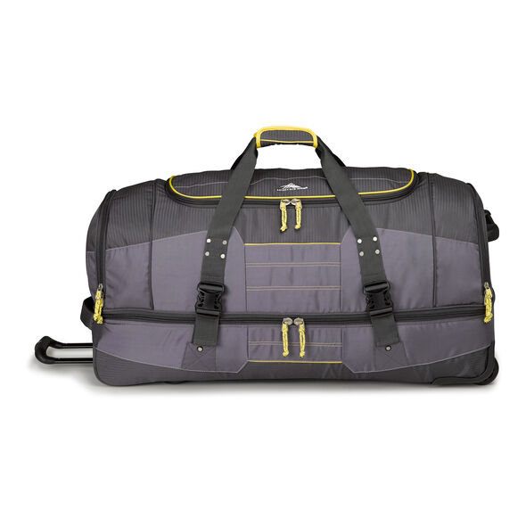 "High Sierra Ultimate Access 2.0 36"" Drop-Bottom Wheeled Duffel in the color Mercury/Charcoal/Yell-O."