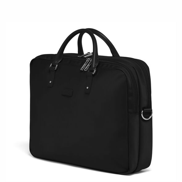 """Lipault Lady Plume FL Laptop Bailhandle (15.6"""") in the color Black."""