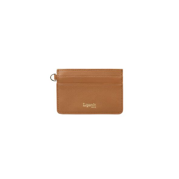 Lipault Plume Elegance Card Holder in the color Cognac Leather.