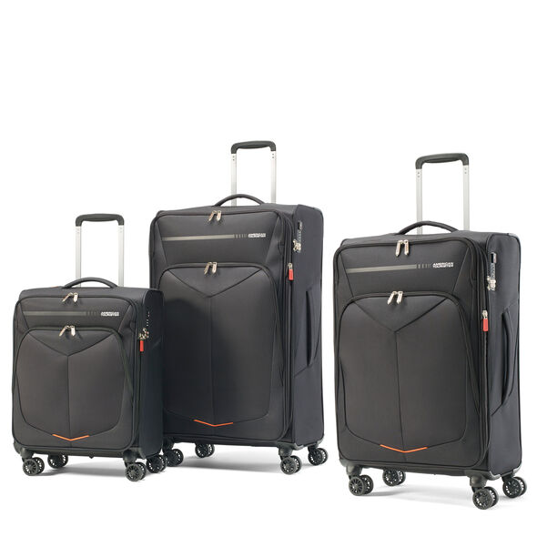 American Tourister Fly Light Spinner 3 Piece Set (CO/Med/Lrg) in the color Black.