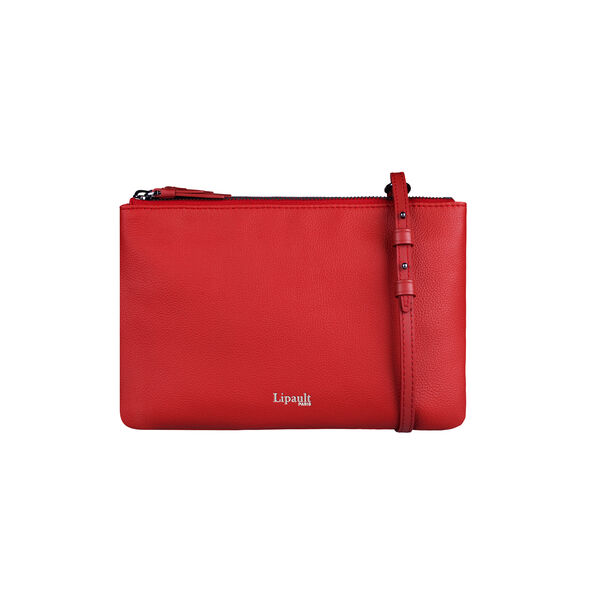 Lipault Plume Elegance Multi Pouch Bag in the color Ruby Leather.