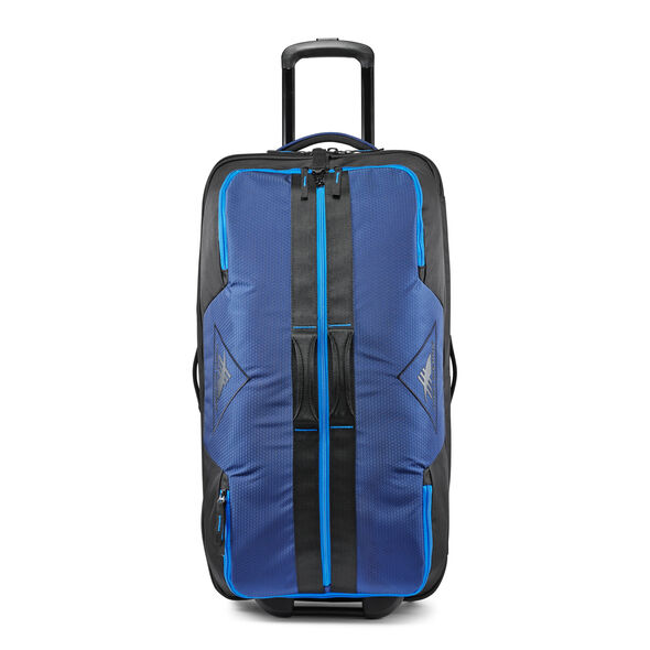 "High Sierra Dells Canyon 28"" Drop-Bottom Wheeled Duffle in the color True Navy/Black/Sports Blue."