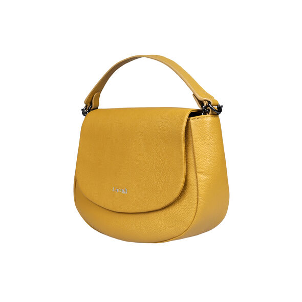 Lipault Plume Elegance Saddle Bag in the color Mustard Leather.
