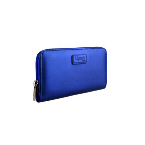 Lipault Miss Plume Zip Around Wallet in the color Exotic Blue.