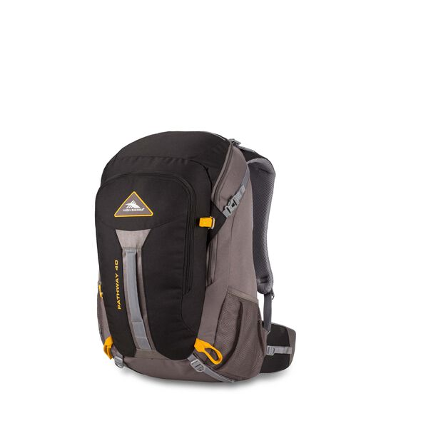 High Sierra Pathway 40L Pack in the color Black/Slate/Gold.