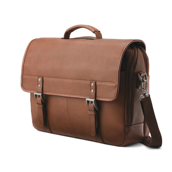 Samsonite Classic Leather Flapover in the color Cognac.