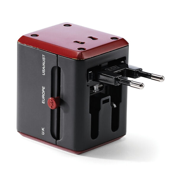 Samsonite CAN Accessories Worldwide Power Adapter with USB in the color Black/Red.