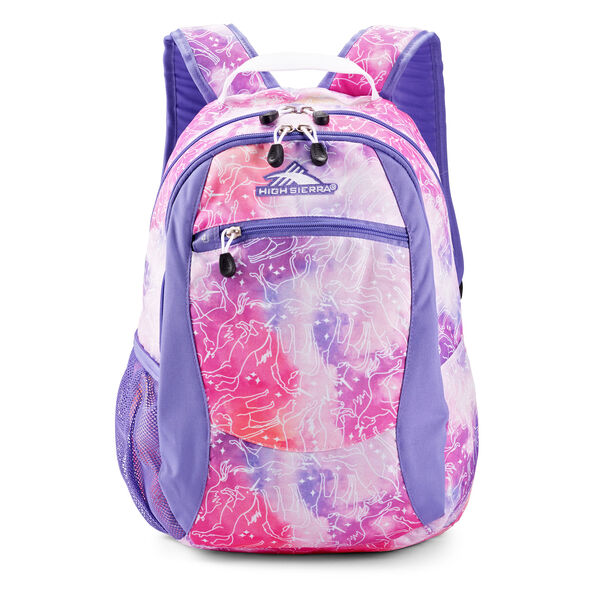 High Sierra Curve Backpack in the color Unicorn Clouds/Lavender/White.