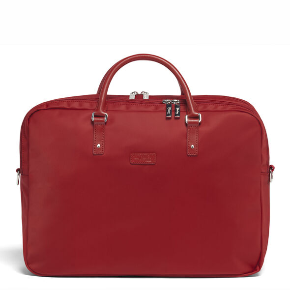"""Lipault Lady Plume FL Laptop Bailhandle (15.6"""") in the color Cherry Red."""