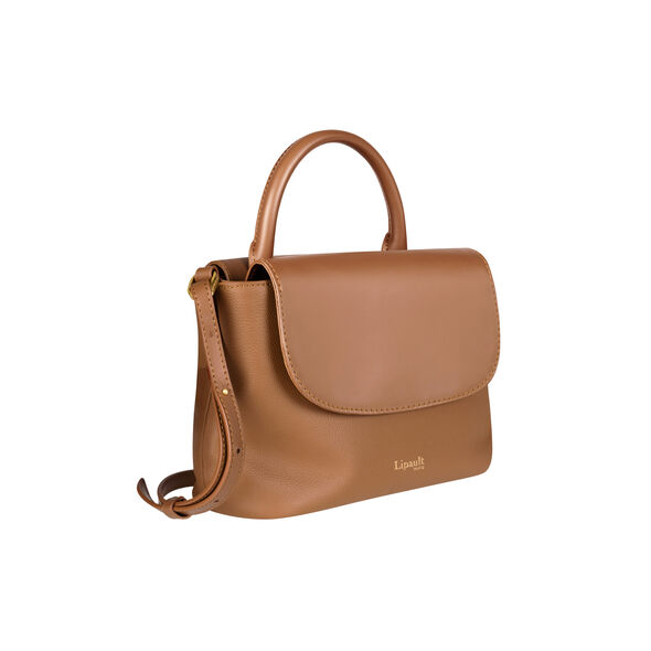 Lipault Plume Elegance Mini Handle Bag in the color Cognac Leather.