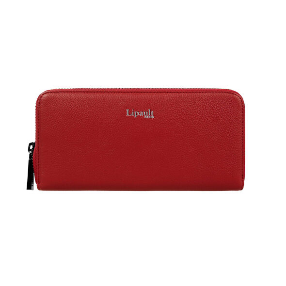Lipault Plume Elegance Zip Around Wallet in the color Ruby Leather.