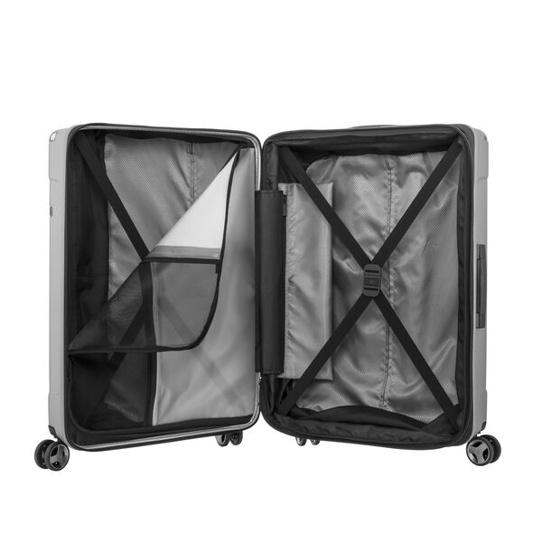 Samsonite Evoa Spinner Carry-On in the color Brushed Silver.
