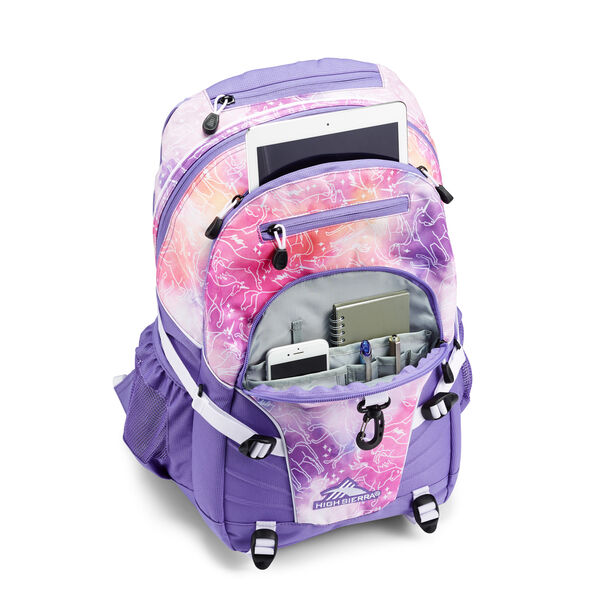 High Sierra Loop Backpack in the color Unicorn Clouds/Lavender/White.