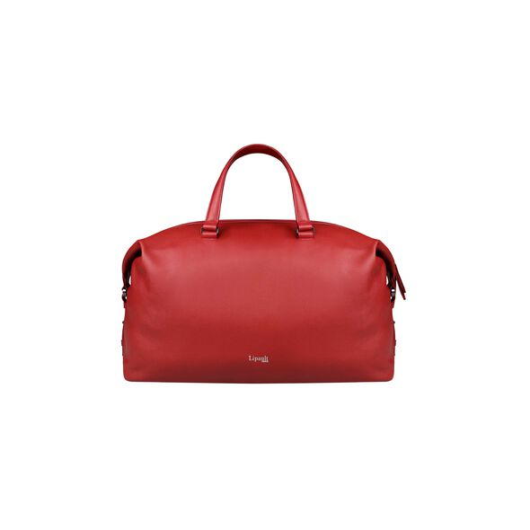 Lipault Plume Elegance Weekend Bag in the color Ruby Leather.