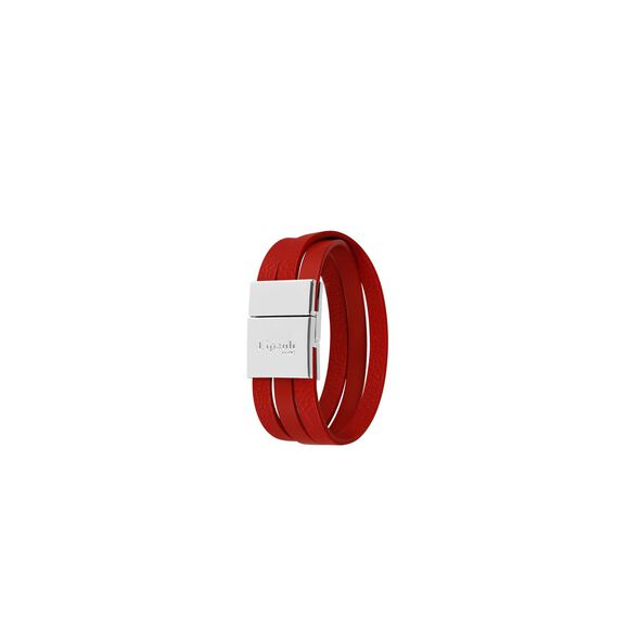 Lipault Plume Elegance Clasp Bracelet in the color Ruby Leather.