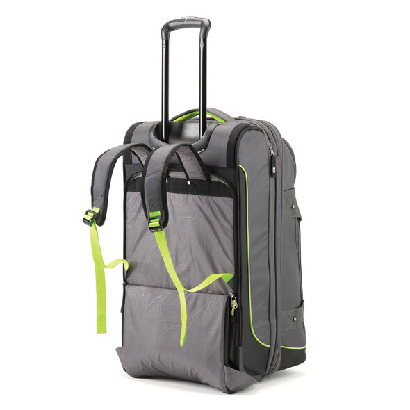 High Sierra Break-Out Carry-On Wheeled Duffle Upright in the color Mercury/Black/Zest.
