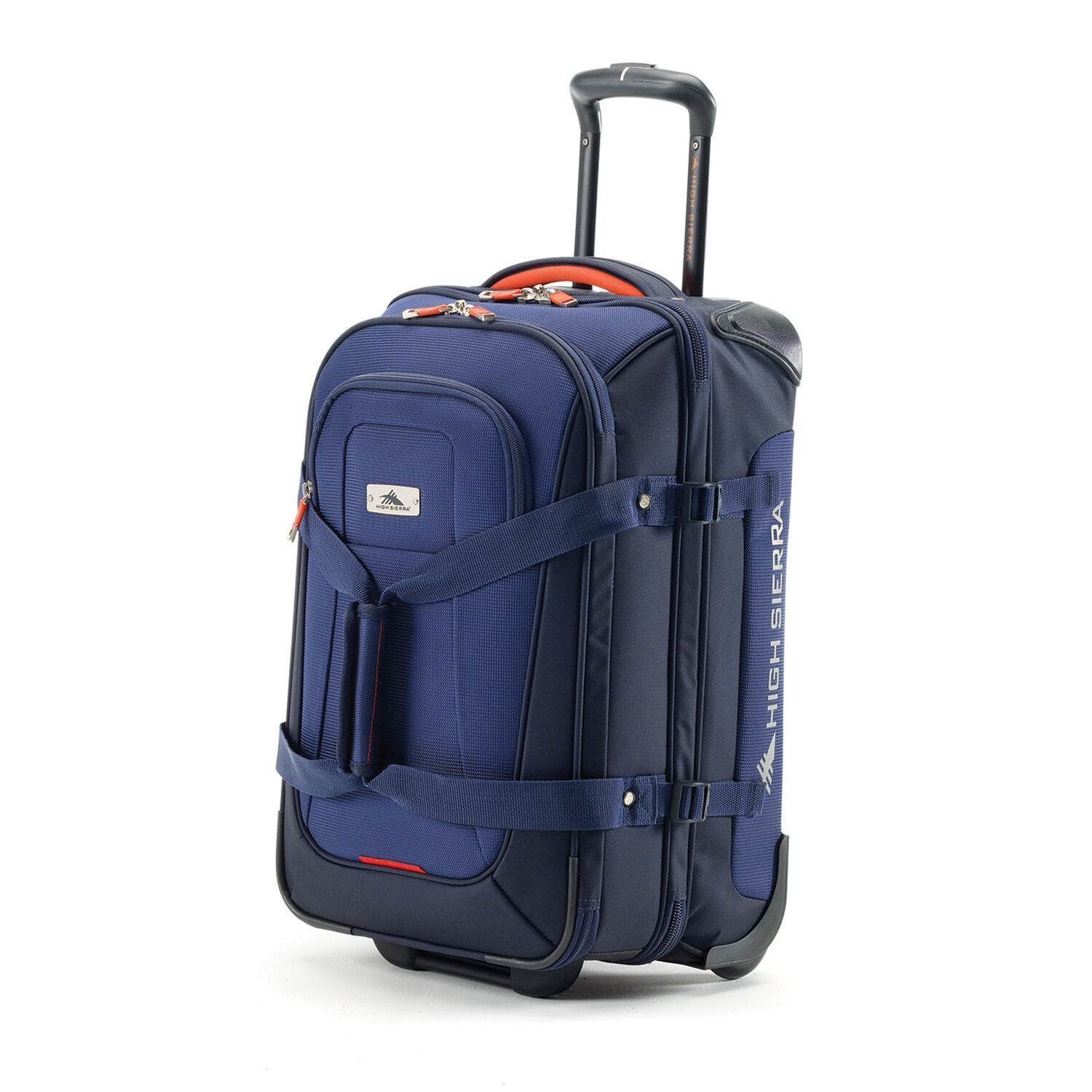 High Sierra AT6 DLX Carry-On Wheeled Duffle Upright in the color True Navy   ... a580bd25a910f