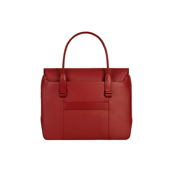 Lipault Plume Elegance Laptop Tote Bag in the color Ruby Leather.