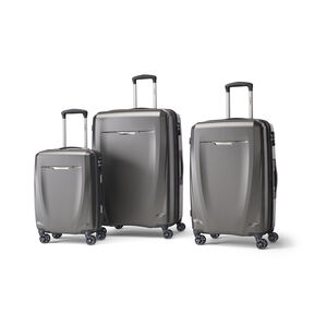 Samsonite Pursuit DLX Plus Spinner 3 Piece Set (CCO, Med, Lrg) in the color Charcoal.