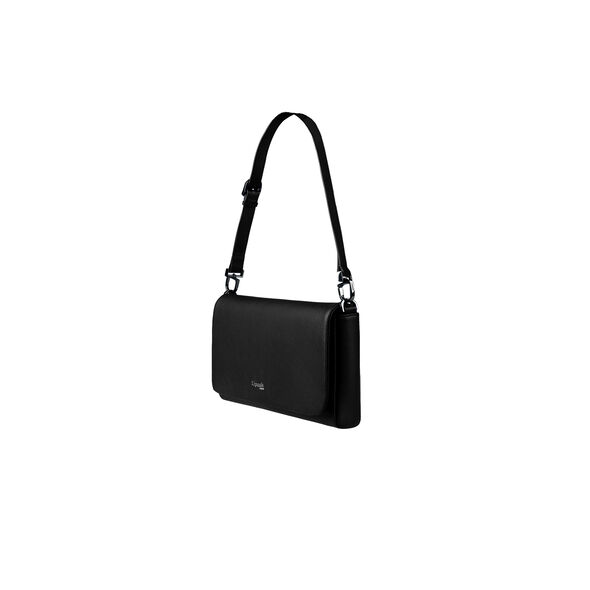 Lipault Plume Elegance Clutch Bag M in the color Black Leather.