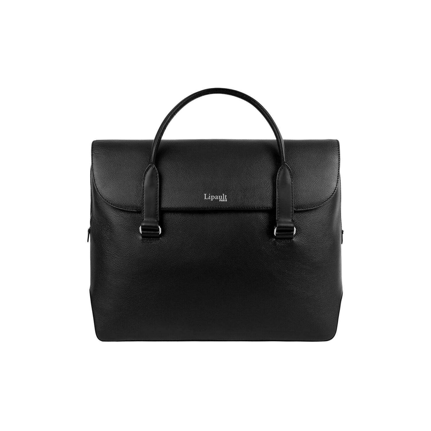 Lipault Plume Elegance Laptop Bailhandle in the color Black Leather.