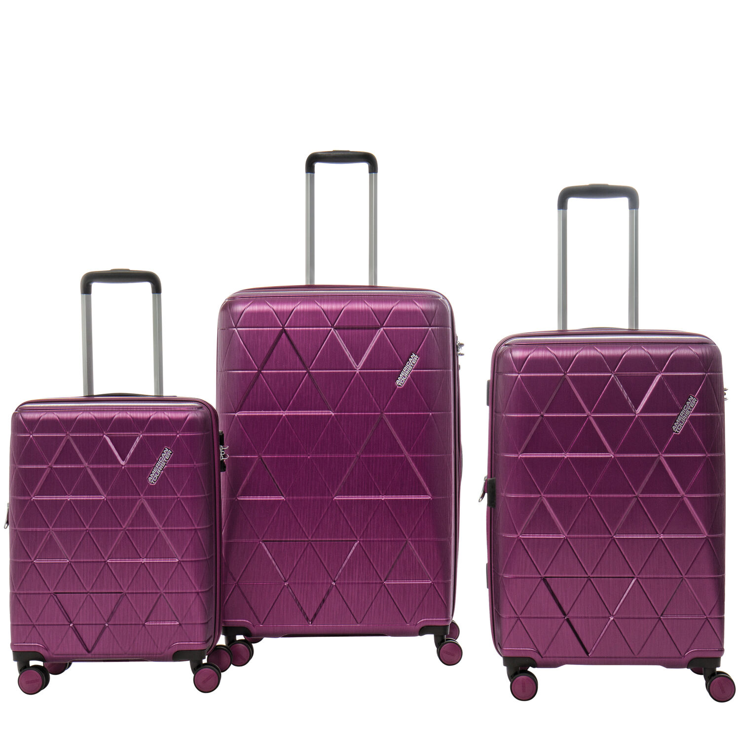 American Tourister Edge Spinner 3 Piece Set (CO/Med/Lrg) in the color Metallic Violet.