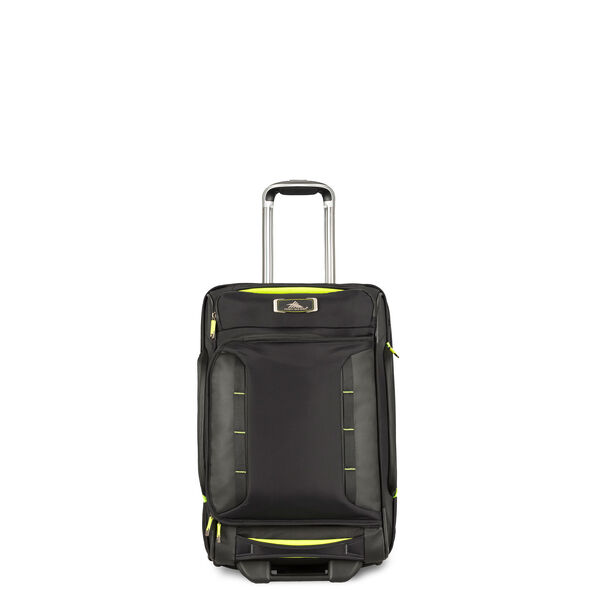 High Sierra AT8 Carry-On Wheeled Duffle Upright in the color Black Zest.
