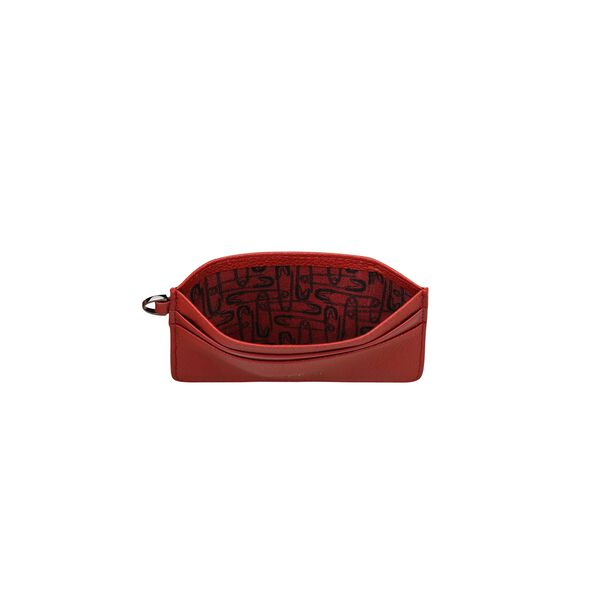Lipault Plume Elegance Card Holder in the color Ruby Leather.