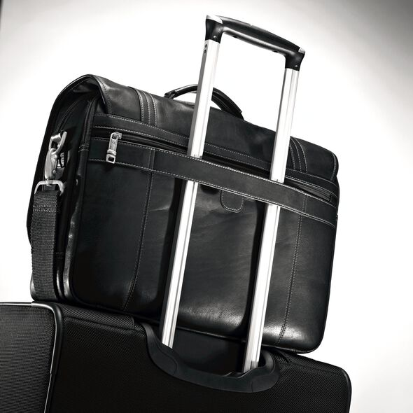 Samsonite Columbian Leather Flapover Brief in the color Black.