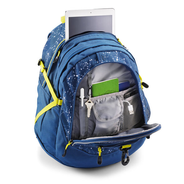High Sierra Fatboy Backpack in the color Space Creatures/Rustic Blue/Glow.