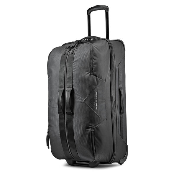 "High Sierra Dells Canyon 28"" Drop-Bottom Wheeled Duffle in the color Black/Black."
