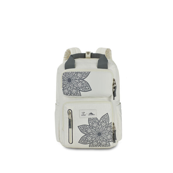 Life Is Good by High Sierra Mindie Backpack in the color Putty White/ Slte Grey Mandala.
