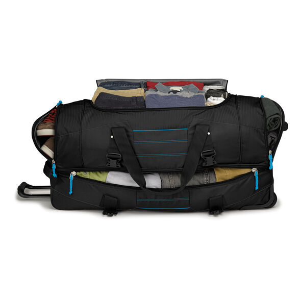 "High Sierra Ultimate Access 2.0 36"" Drop-Bottom Wheeled Duffel in the color Black/Blueprint."