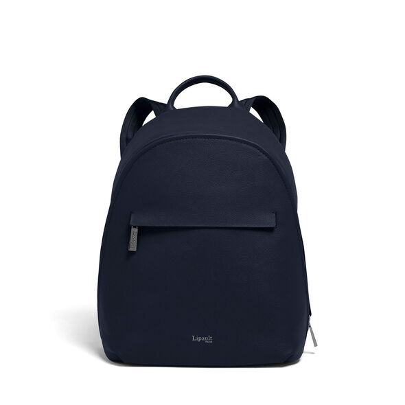 Lipault Plume Elegance Round Backpack in the color Navy Leather.