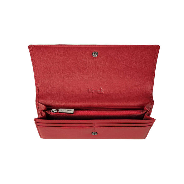 Lipault Plume Elegance Wallet in the color Ruby Leather.