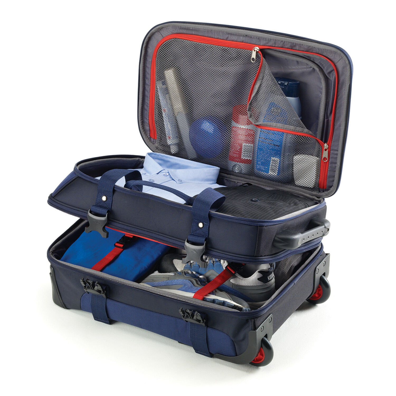 ... High Sierra AT6 DLX Carry-On Wheeled Duffle Upright in the color True  Navy  ... d4848aa6df443